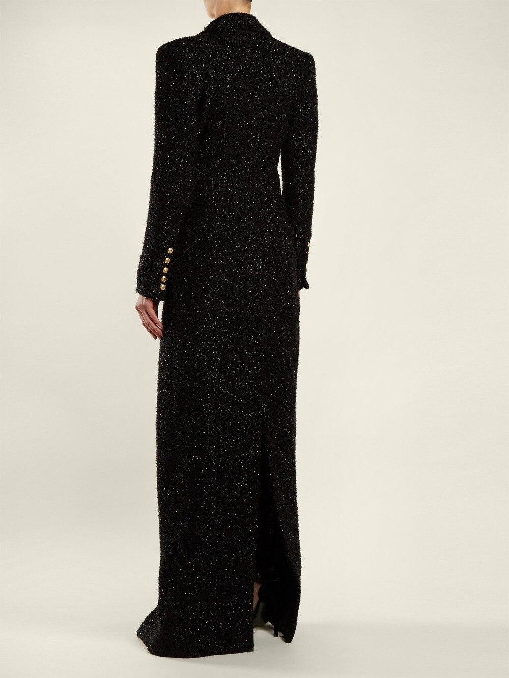 Noir Mode À Vestes Cou Manches Élégant Nouveau Femmes Veste Profonde Paillettes Manteau Outwear Long Sexy Longues Designer f1dnFznU