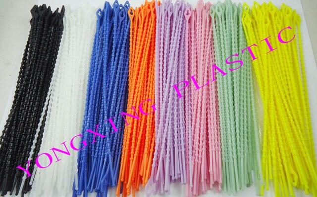 b71bdf2a7e8c 160pcs/lot 3X180 zip releasable knot cable tie 8 color black white pink  yellow orange
