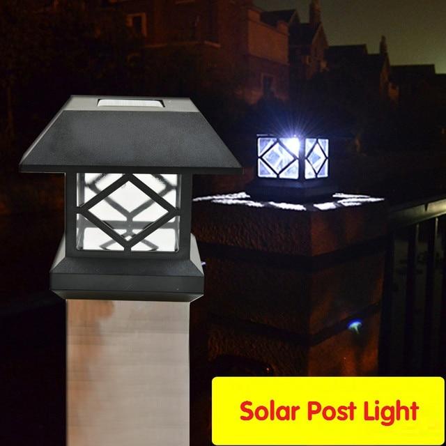 2pcs Lot Outdoor Solar Led Post Lamp Waterproof Pillar For Garden Fence Courtyard Energy Saving Luminaires Light