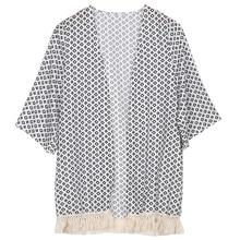 Tassel Kimono Vintage Plaid Printed Cardigan SF