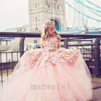 Pink Flower Girl Dress Luxury Applique Princess Pageant Birthday Party Ball Gown