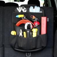 Car Trunk Hanging Storage Bag PU Leather Net Auto Backseat Tool Organizers High Capacity Travel Storage