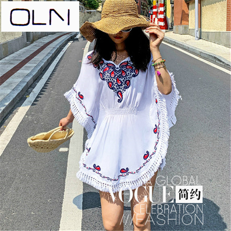 OLN 5XL Size Cotton Blouse Tunic Summer Fashion Casual Embroidery Blouses Women Shirts Batwing Sleeve Crochet Lace Peplum Tops