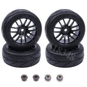 4Pieces /Lot Rubber RC Car Tires & Wheel Rim Hex 12mm For Electric HSP XSTR POWER 1/10th Scale Nitro Power Advanced On Road Car