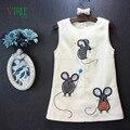 Crianças Meninas Do Bebê Sem Mangas Vestido Novo Outono Rato Bonito Vestido Para A Menina Crianças Roupa Dos Miúdos Roupa Do Bebê 2-7 ano