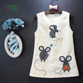 Los niños de los Bebés Sin Mangas Vestido Nuevo Otoño Ratón Lindo Vestido De Niña Niños Niños Ropa Ropa de Bebé 2-7 año