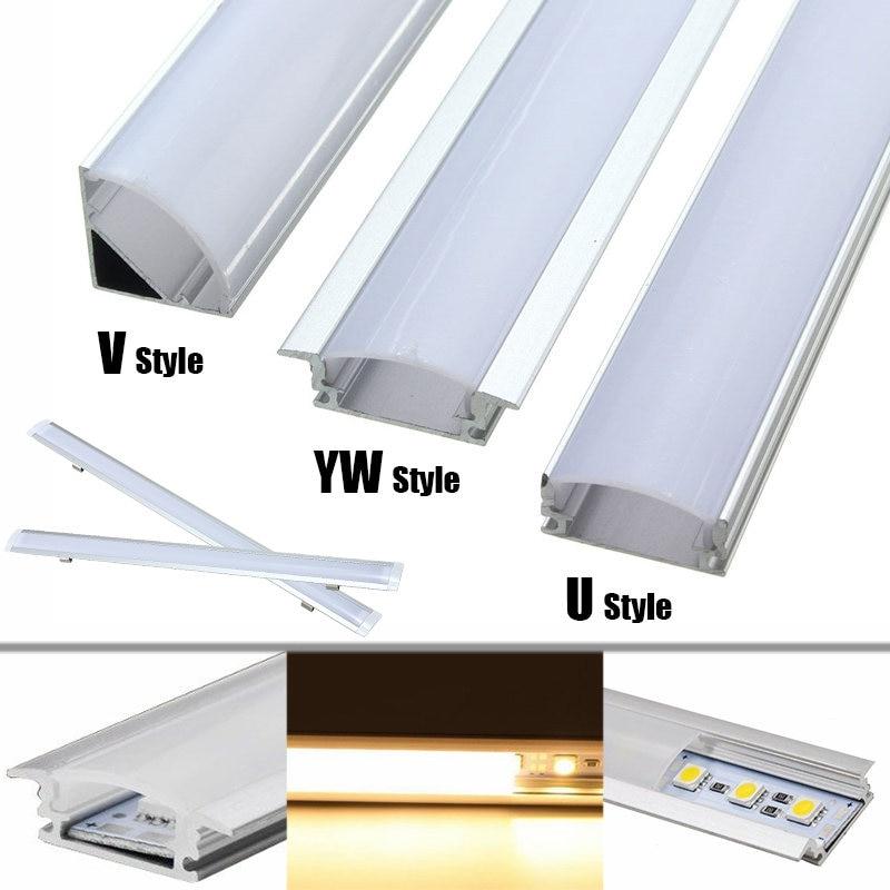 Lamp Cover 30/50cm U/V/YW Style Aluminium Milk Cover Rigid Channel Holder For LED Strip Bar Light Under Cabinet Cupboard Lamp