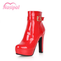 Nasipal Woman Winter Shoes Ankle Boots Patent Round Toe Motorcycle Boots Super High Heel Platfrom Woman
