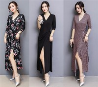 new floral print dress bodycon dress long wrap dresses v neck cutout vestidos women clothes long sexy party design outfit