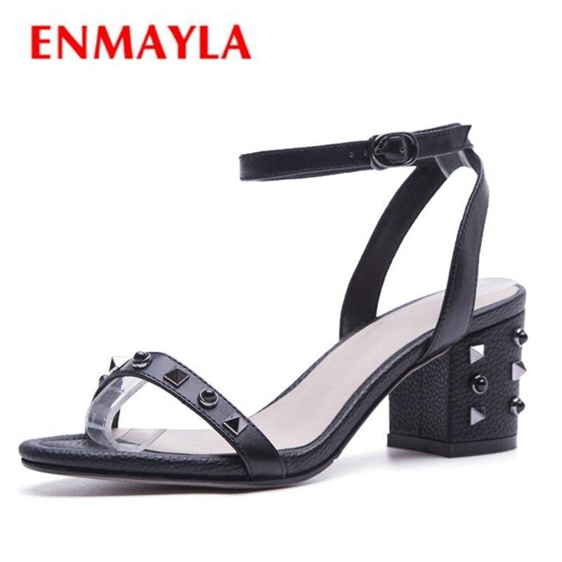 ENMAYLA Women High Heels Sandals Summer Shoes Woman Summer Party Causal women med heels Sandals Rivets Buckle strap shoes CR845