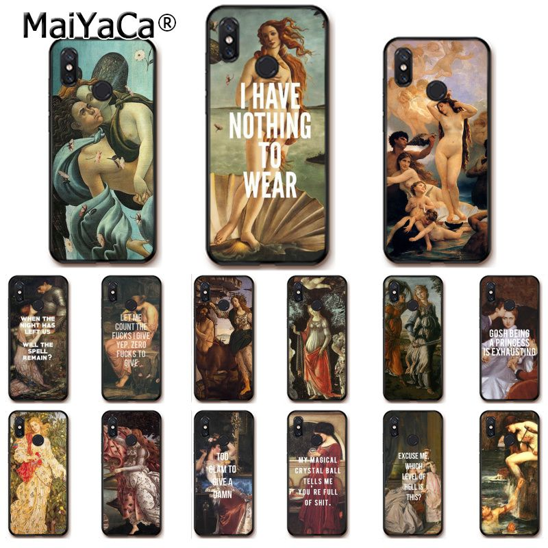 MaiYaCa Art Paintings The Birth Of Venus Black Phone Cover for Xiaomi Mi 6 Mix2 Mix2S Note3 8 8SE Redmi 5 5Plus Note4 4X Note5