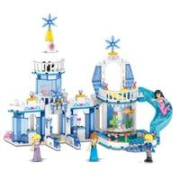 37026 344pcs 2 In 1 Snow Queen Dream Snow Princess Elsa Ice Castle Princess Anna Girl