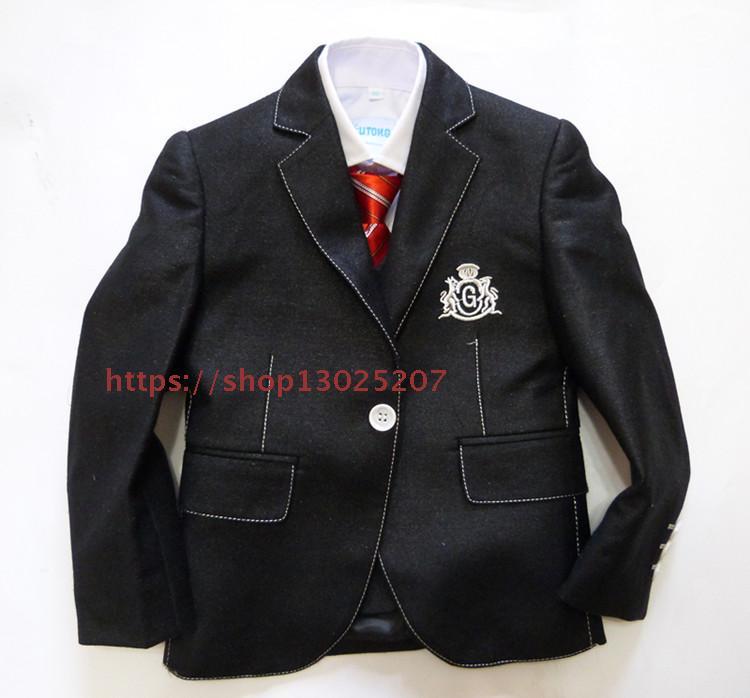 (Jackets+Vest+Pants) College Wind boy suit black white high-grade student dress suit childrens suit three-piece suit vest chi