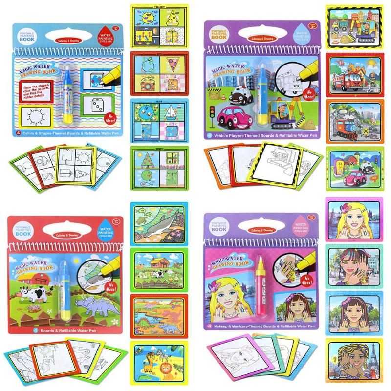 Reusable Coloring Magic Water Pittura Libro Kid Doodle Write Board - Apprendimento e educazione