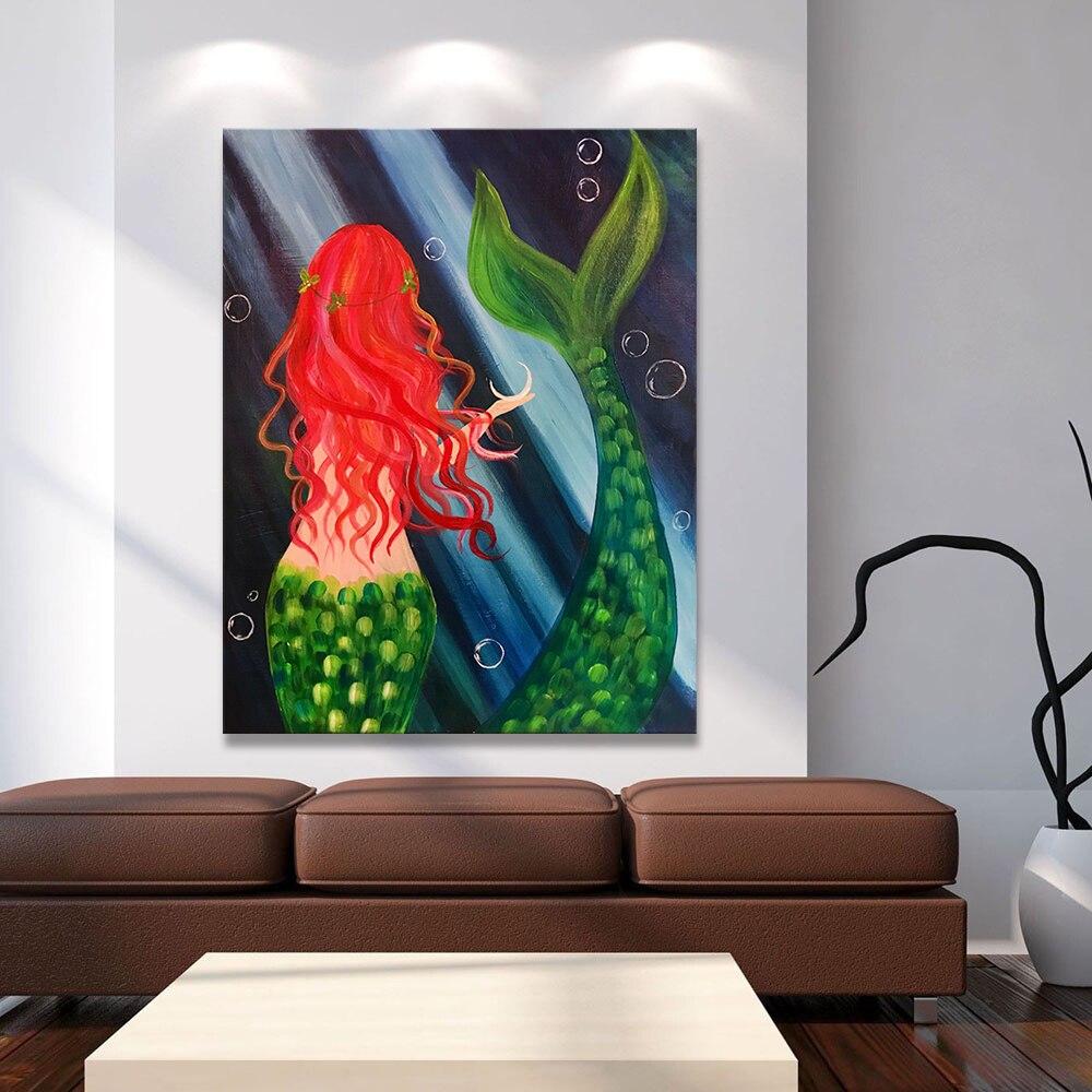 Wangart Wall Art Canvas Print Sea Maid Animal Oil Painting
