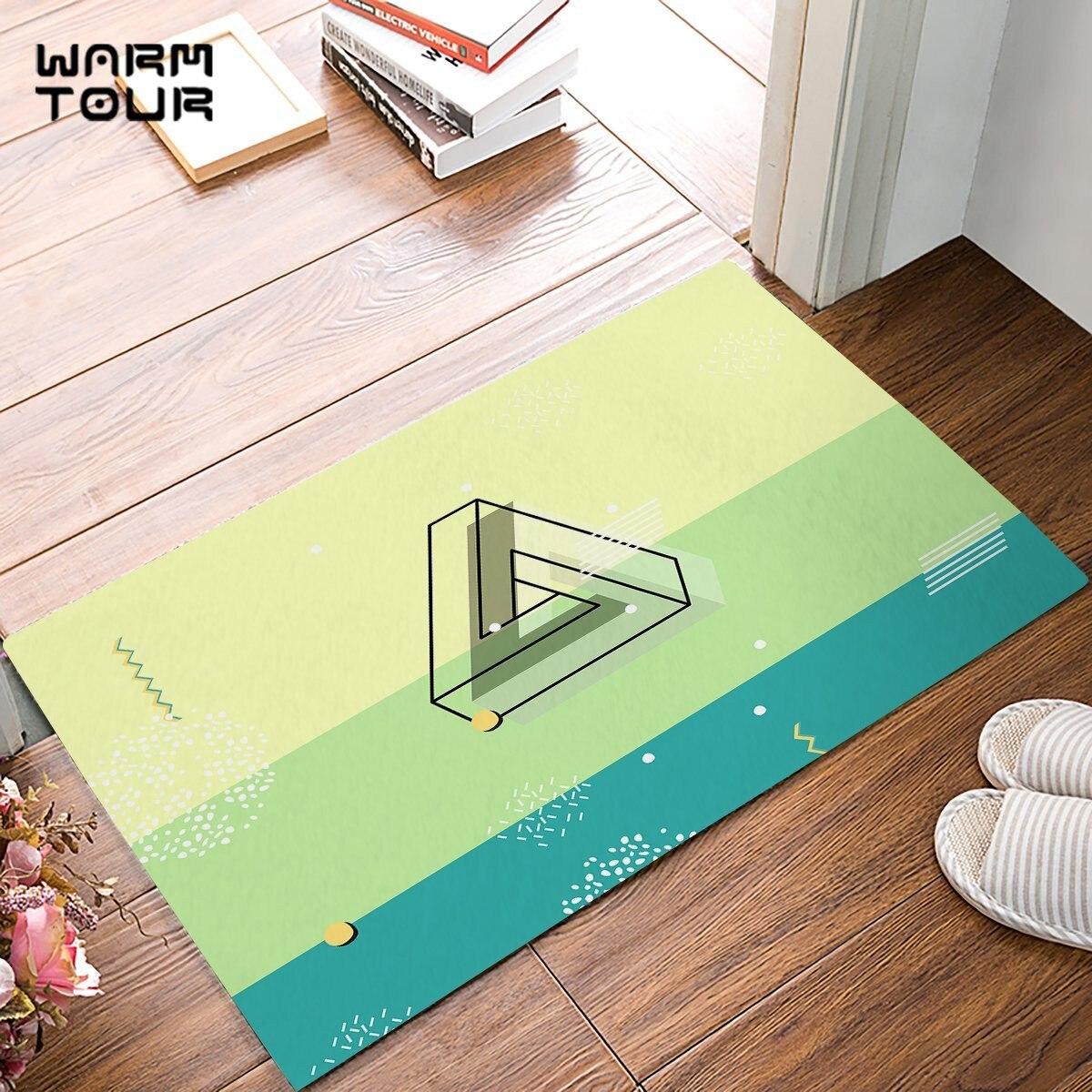 39 X 20 Kitchen Rugs Colorful Stripe Rainbow Design Non-Slip Soft Kitchen Mats Bath Rug Runner Doormats Carpet for Home Decor