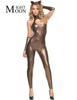 MOONIGHT Leopard Jumpsuit Halloween Cosplay Cat Woman Costume Sexy Woman Catsuit Lingerie