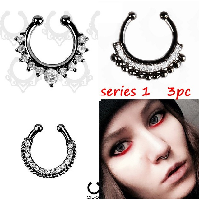 Crystal Black Fake septum Piercing nose ring Hoop For Women Body Jewelry 1