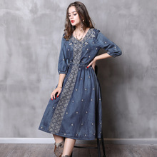 Fashion luxury brand womens clothing spring and summer autumn denim large size big swing embroidery sleeve dress women