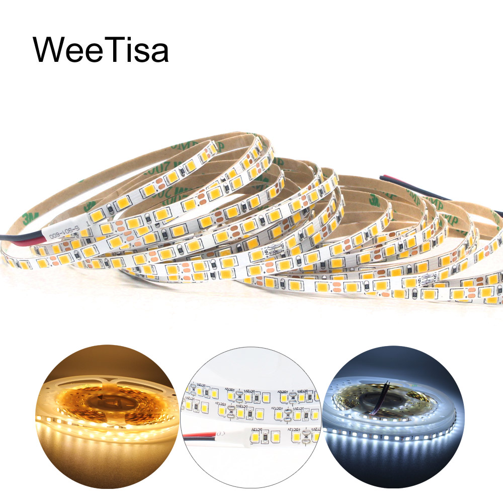 5M <font><b>LED</b></font> Strip 12V DC <font><b>SMD</b></font> 2835 <font><b>4MM</b></font> 8MM 120LEDs/M Slim Strip Light Warm White Flexible Tira <font><b>LED</b></font> Tape Stripe Ribbon Decor Lighting image