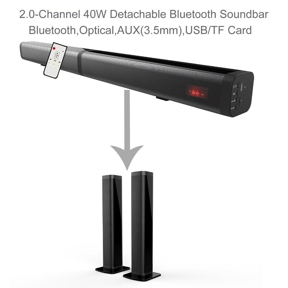 Samtronic Son Bar Amovible Bluetooth Haut-Parleur Télévision Subwoofer Son Deux Canaux Stéréo Haut-Parleur AUX LED Affichage