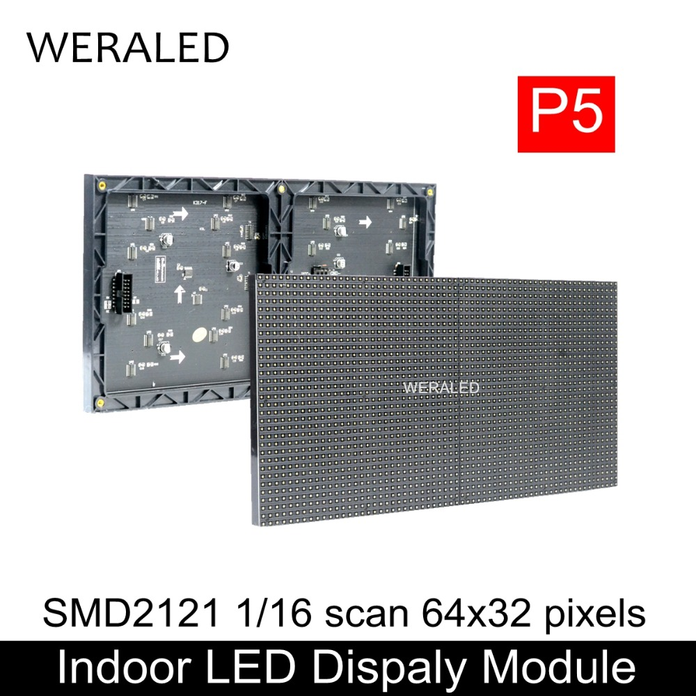 WERALED Hot Sale 64x32 Pixels 320x160mm Black LED Lamp P5 Indoor SMD2121 Full Color LED Module , 1/16 Scan P5 LED Display Panel weraled p4 p5 p6 p8 p10 outdoor led module hub75b ports smd 3 in 1 full color led video wall display panel unit ip65