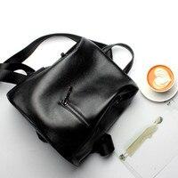 Girls Genuine Leather Backpacks Women Bags Black Fashion Travel Backpack Zipper Double Shoulder School Bags For Teenagers