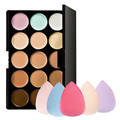 New 15 Colors Contour Face Cream Makeup Concealer Palette + Sponge Puff Free Shipping & Wholesale