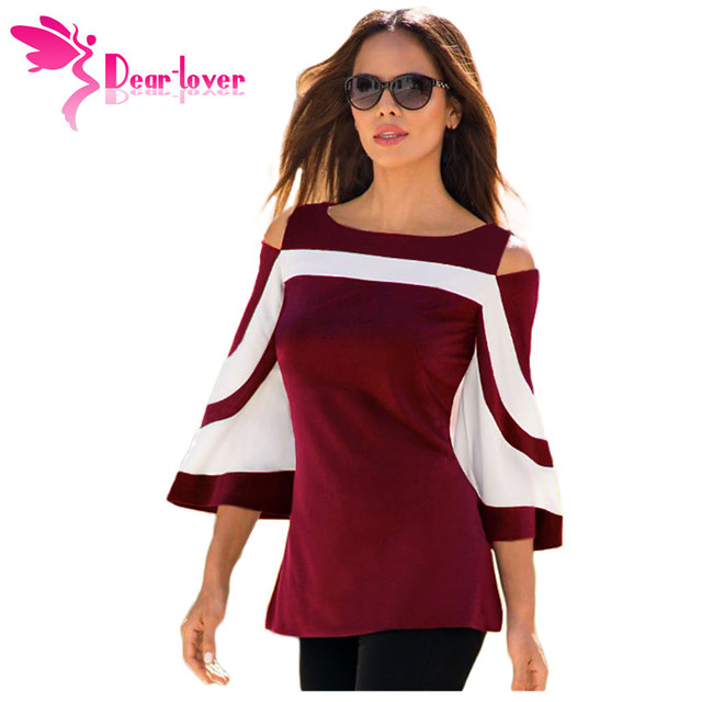 DearLover Women Blouse Black White Colorblock Bell Sleeve Cold Shoulder Top Mujer Camisa Feminina Office Ladies Clothes 3