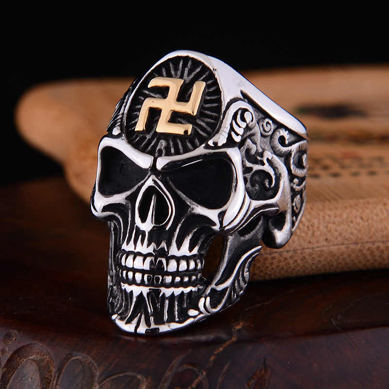 Anillos de calavera de esvástica de Budismo de Color dorado para hombre Punk Rock Hip Hop aleación Vintage negro plata anillo de cabeza fantasma para hombre anillos de esqueleto
