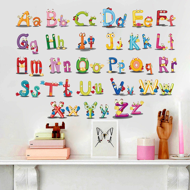 Puzzle Early Education Paste 26 English Alphabet Wall Stickers For Kids Rooms Cartoon Art bedroom Wall Background Decal