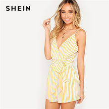 f13d795aa26 SHEIN Boho Yellow Striped Wrap V neck Spaghetti Strap Cami Romper With Belt  Summer Sleeveless Mid Waist Rompers Womens Jumpsuit