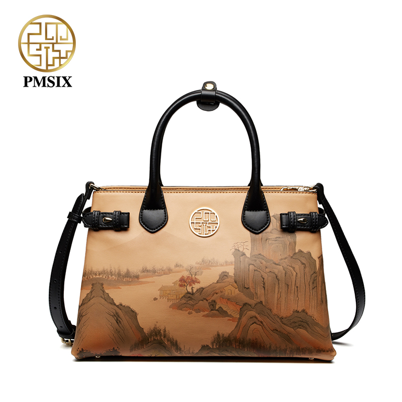 Pmsix new fashion luxurious ladies bags Printed handbag convenient versatile Shoulder Messenger bags soft Feminina Bolsas