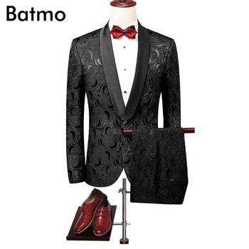 Batmo 2018 new arrival high quality jacquard black men's suits ,men's wedding dress,Dinner dress men,plus-size 86600