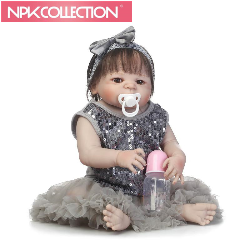 NPK New Lovely New Born Baby Girl Doll Toy 23'' Realistic Reborn Dolls Silicone Vinyl Full Body Alive bebe Boneca Reborns N162-4