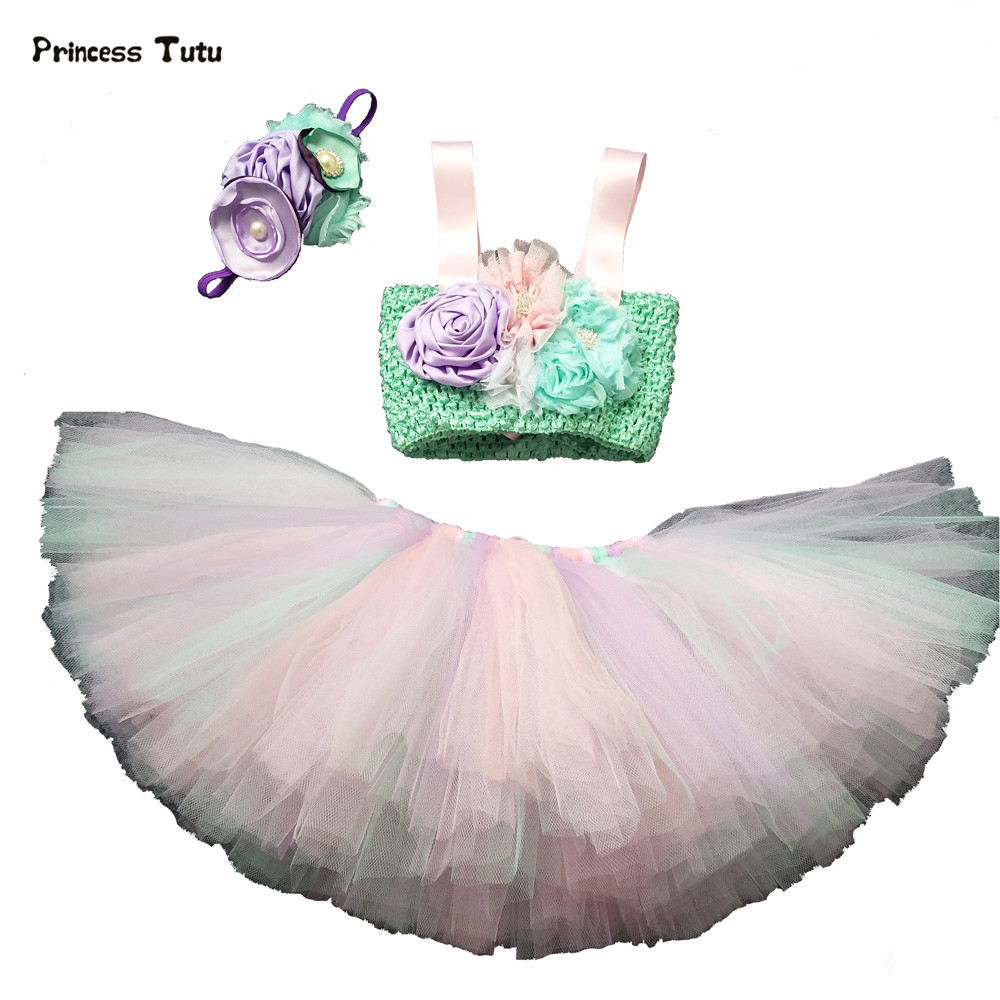 3PCS Baby Girl Clothing Sets Kids Performance Costume Child Princess Tutu Skirt Set Mermaid Ariel Cosplay Cartoon Girls Clothes