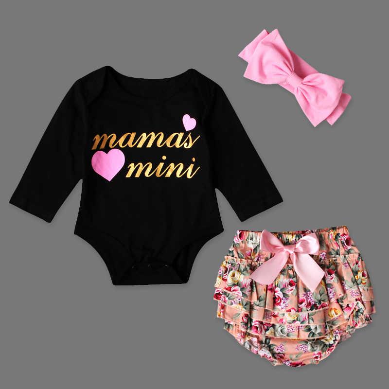 Лето 3 шт. Комплект новорожденных модная одежда для девочек черные буквы хлопок короткий рукав + Цветочный принт шорты с бантом + Головные уборы комплект
