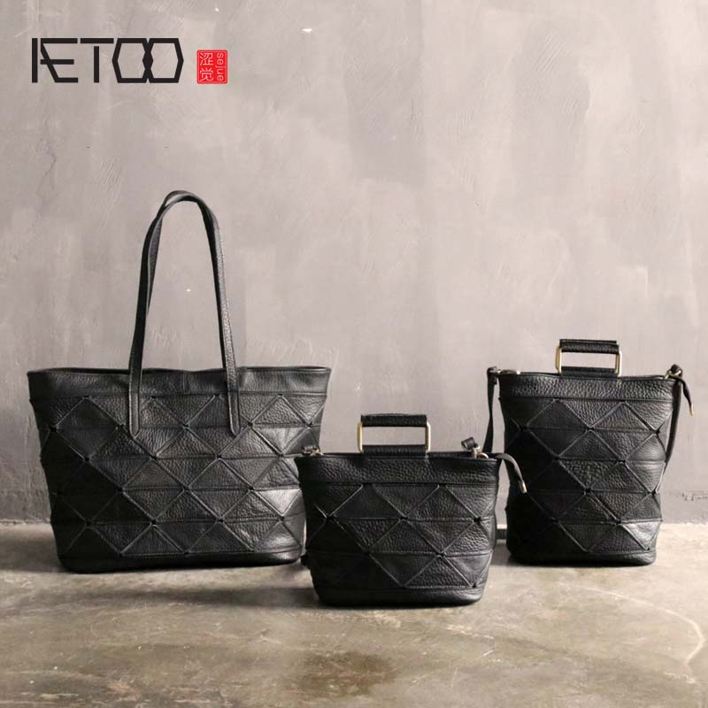 AETOO Small bag female retro leather shoulder bag women art tote bag personality geometric stitching suede leather small handbag