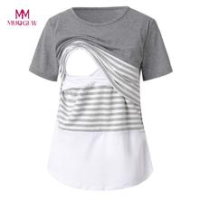 8b0ed11ff6d7a MUQGEW Maternity Clothes Nursing Top Women Maternity Nursing Stripe Round O-neck  Cotton Neck Short