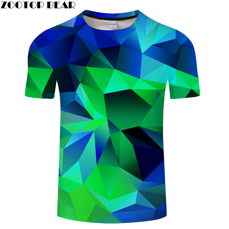 Geometry 3D   t     shirt   Men tshirt Summer   T  -  Shirt   Casual Tops Short Sleeve Tees Male   T  -  Shirt   Streetwear Green DropShip ZOOTOPBEAR
