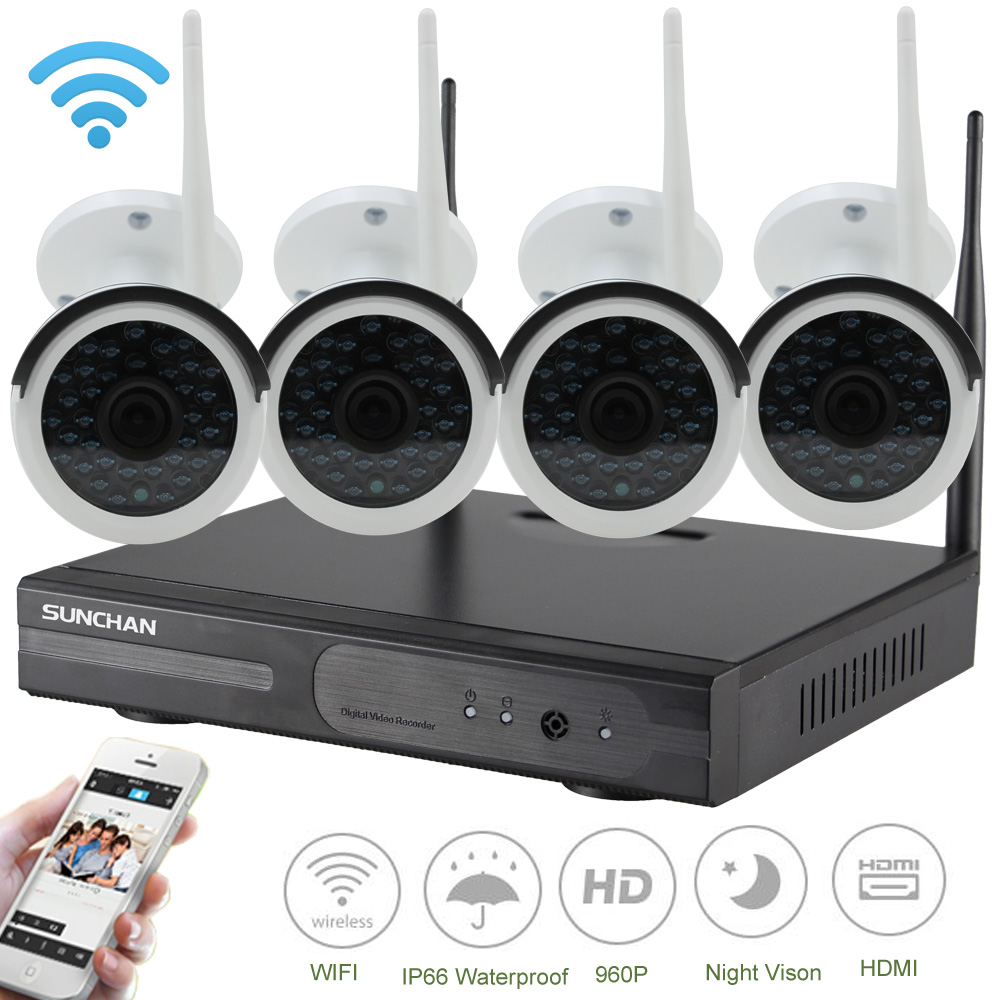 SUNCHAN 4CH CCTV System 960P NVR 4PCS 1.3MP 960P IR Outdoor P2P Wireless IP CCTV Camera Security System Camera Surveillance