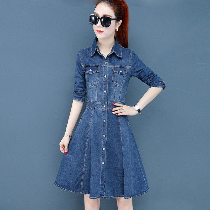Printemps automne décontracté Denim robe à manches longues Slim femmes robes Vintage Sexy Jeans robes dames bureau robe Vestidos