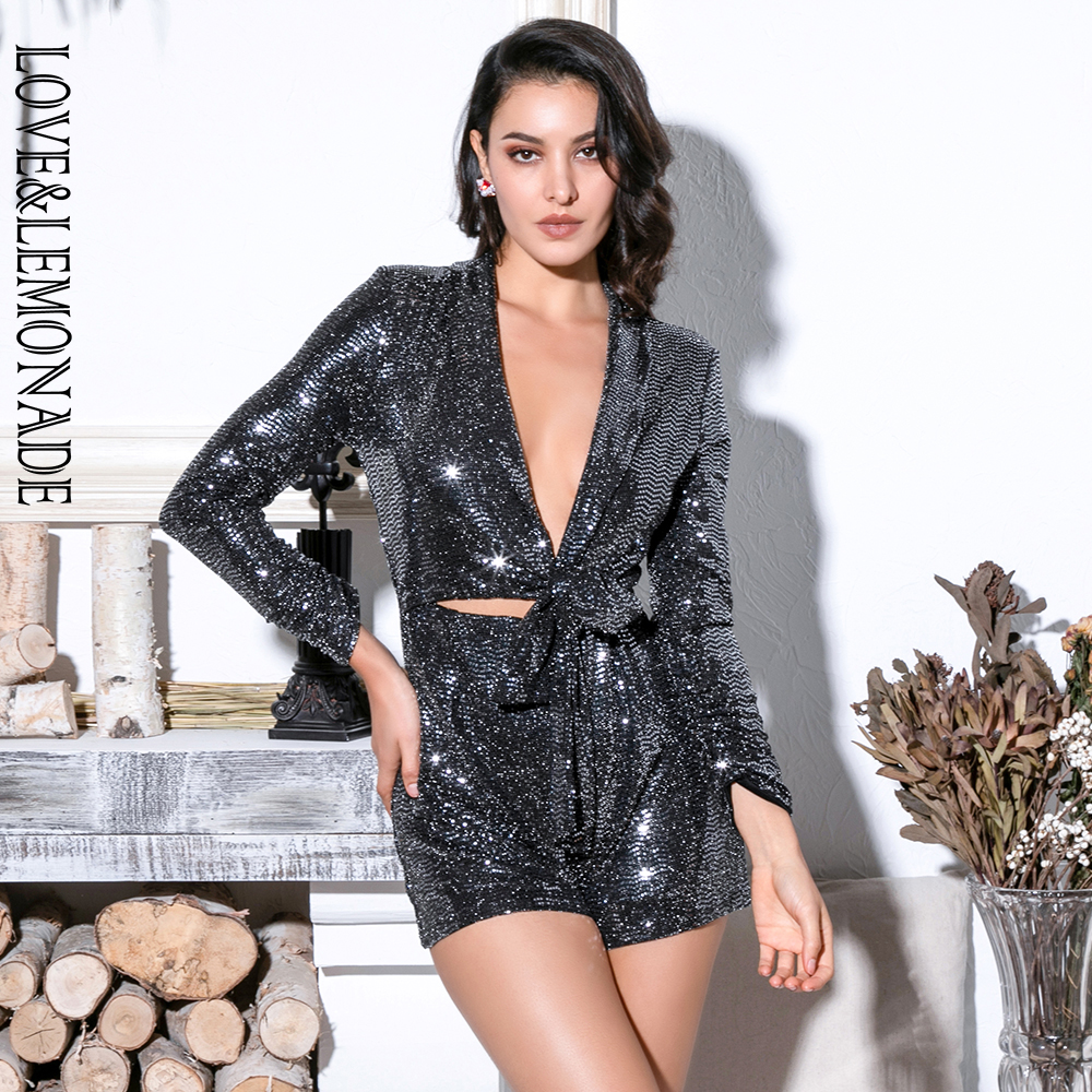 Love&Lemonade Sexy Silver Deep V-Neck Cut Out Glitter Sequins Elastic Material Long Sleeve Playsuit LM81745