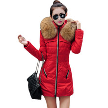 2016 Winter Women Parka Outerwear Duck Down Jacket With Large Fur Collar Plus Size S -XXXXL Thickening Long Coat 3 color casaco