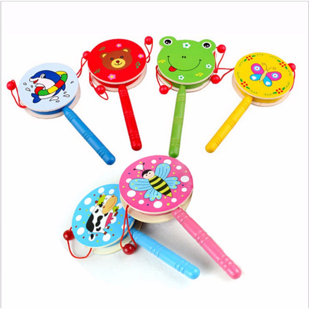 1 Pc Baby Kids Children Shaking Wooden Rattle Drum Musical Hand Bell Drum Toy Early Childhood Educational Learning Rattles Toy