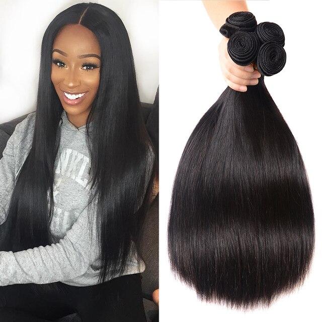 ברזילאי שיער Weave 1/3/4 חבילות ישר שיער טבעי חבילות עבה זוגי Wefts ברנדה רמי שיער רך יופי שיער הרחבות