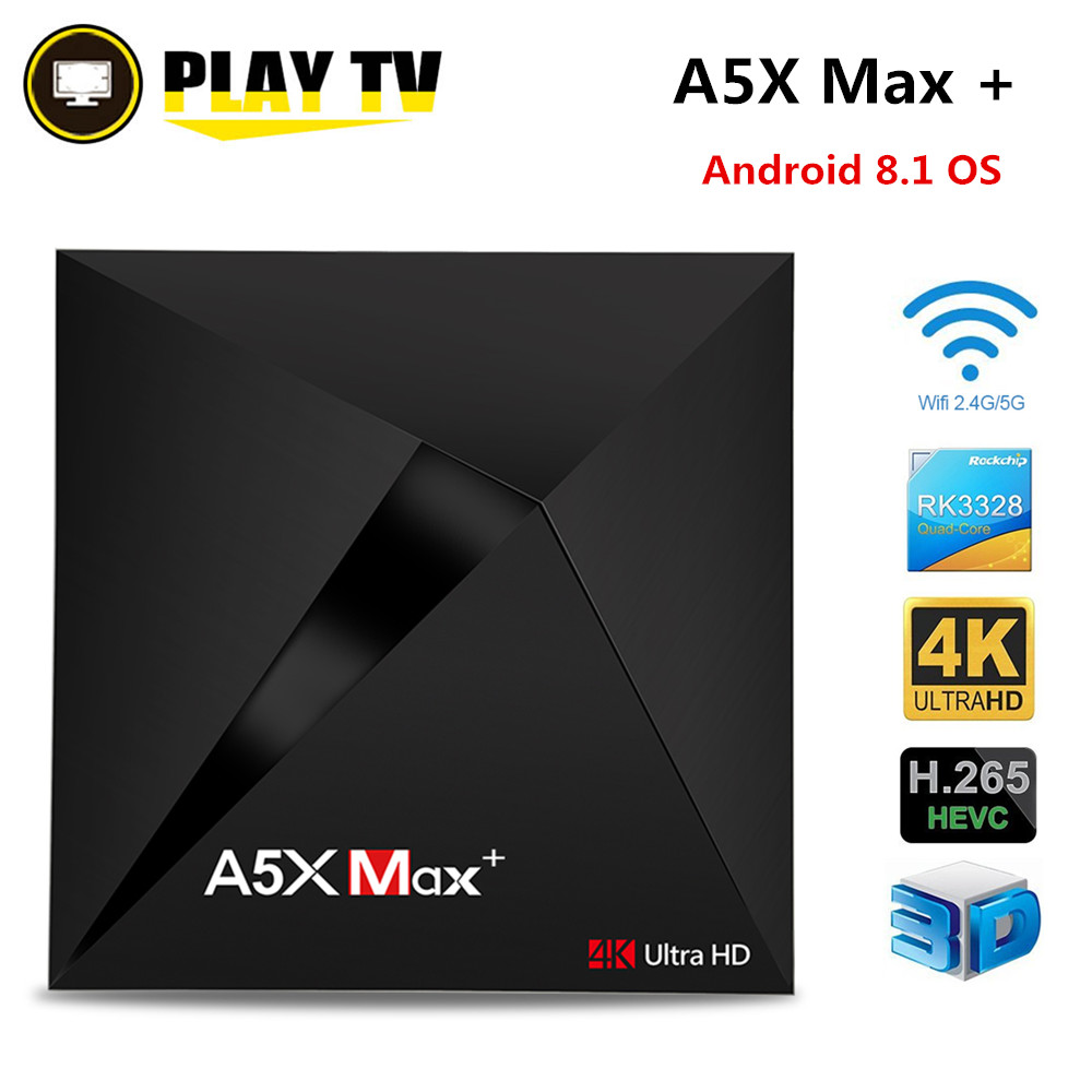 A5X Max plus Android 8.1 TV Box A5X Max + Rockchip RK3328 4GB 32GB 2.4G 5G Dual WiFi 1000M BT4.1 set top box Media Player VONTAR a5x max plus smart tv box android 7 1 rk3328 4k hdr10 usb3 0 4gb 32gb dual band wifi lan bluetooth 4 0 hd media player a5x max