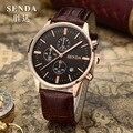 Workable 3 Eyes Men 6 Hands Analog Business Watches Calendar Dress Wristwatch Fashion Leather Strap Quartz Relojes NW7410