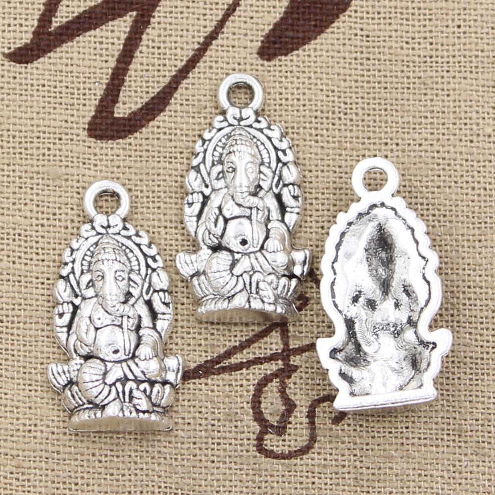 5pcs Charms Ganesha elephant buddha 26x14mm Antique Making pendant fit,Vintage Tibetan Silver Bronze,DIY bracelet necklace