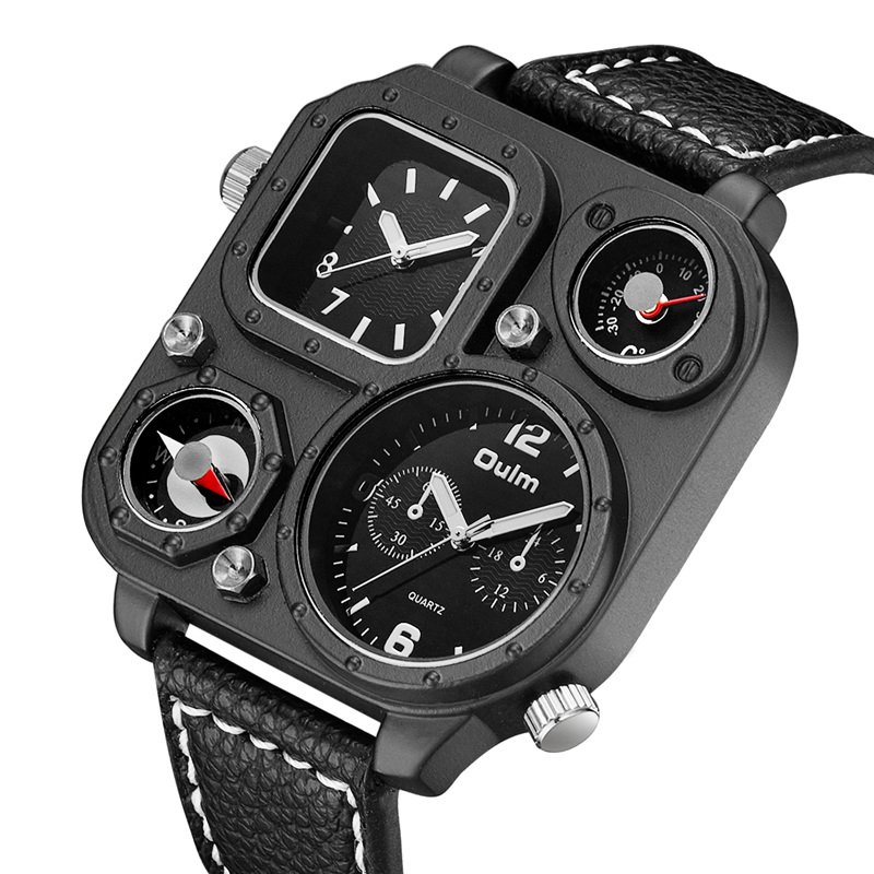 Oulm Sports Men's Watches Compass and Thermometer for Decoration Big Size PU Leather Military Wrist Watch Male Clock Hours Man adjustable wrist and forearm splint external fixed support wrist brace fixing orthosisfit for men and women